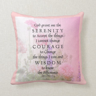 Serenity Prayer Pink Poppies American MoJo Pillow