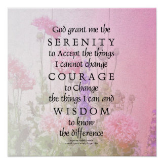 Serenity Prayer Pink Poppies Poster