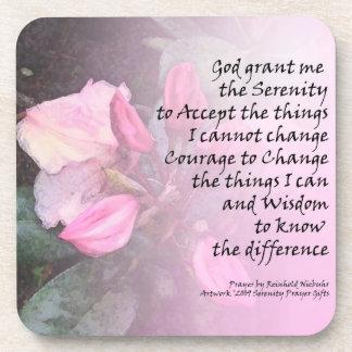 Serenity Prayer Pink Rhodies Beverage Coaster