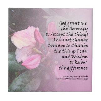 Serenity Prayer Pink Rhododendron Tile