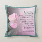 Serenity Prayer Pink Rhododendrons American MoJo P Throw Pillow