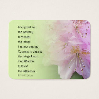 Serenity Prayer Pink Rhododendrons Business Card