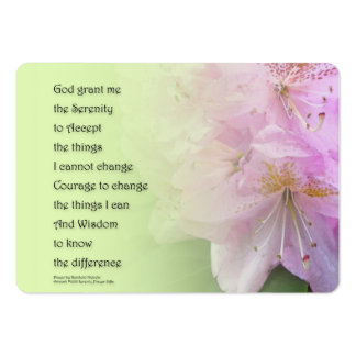 Serenity Prayer Pink Rhododendrons Large Business Card