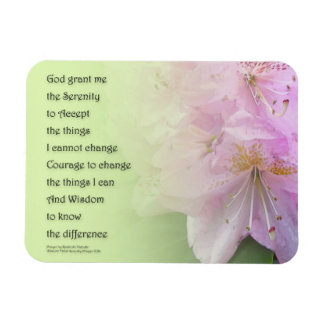 Serenity Prayer Pink Rhododendrons Rectangular Photo Magnet