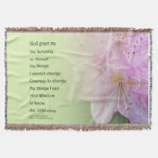 Serenity Prayer Pink Rhododendrons Throw Blanket