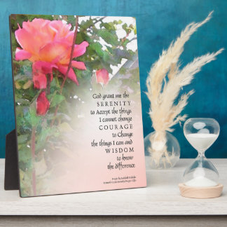 Serenity Prayer Pink Rose and Buds Plaque