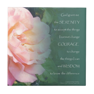 Serenity Prayer Pink Rose and Leaves Ceramic Tile