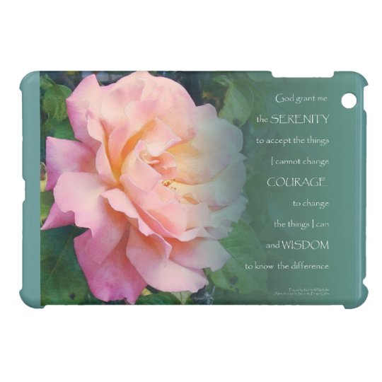 Serenity Prayer Pink Rose and Leaves iPad Mini Covers