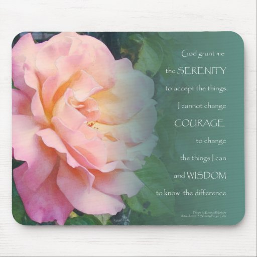 Serenity Prayer Pink Rose and Leaves Mouse Pad