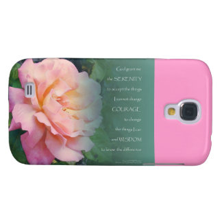 Serenity Prayer Pink Rose Green Leaves Galaxy S4 Cover