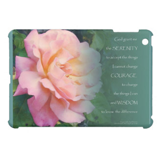 Serenity Prayer Pink Rose Green Leaves iPad Mini Cover