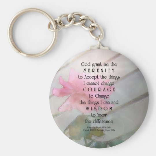 Serenity Prayer Pink Rose Keychain