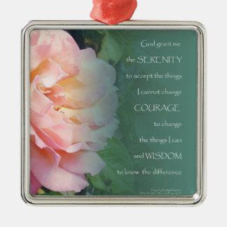 Serenity Prayer Pink Rose Metal Ornament