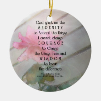 Serenity Prayer Pink Rose Ornament