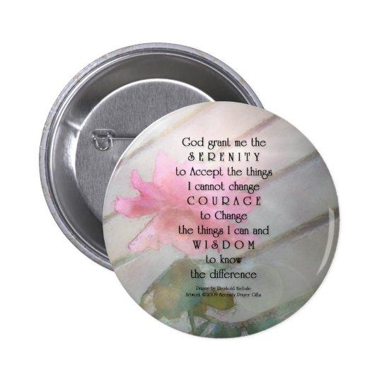 Serenity Prayer Pink Rose Pinback Button