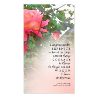 Serenity Prayer Pink Rose Profile Card Double-Sided Standard Business Cards (Pack Of 100)