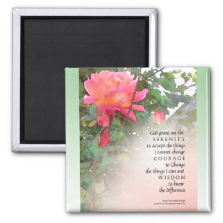 Serenity Prayer Pink Rose Two Buds 2 Inch Square Magnet