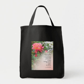 Serenity Prayer Pink Rose Two Buds Tote Bags