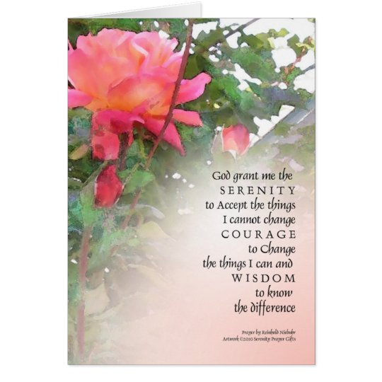 Serenity Prayer Pink Rose Two Buds Card