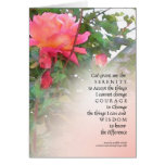 Serenity Prayer Pink Rose Two Buds Greeting Card