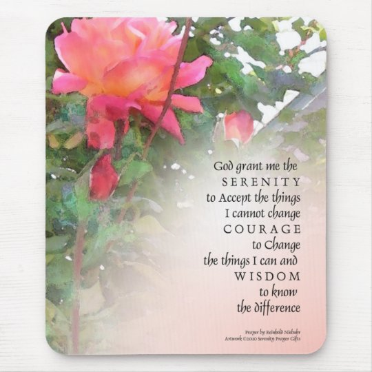 Serenity Prayer Pink Rose Two Buds Mouse Pad