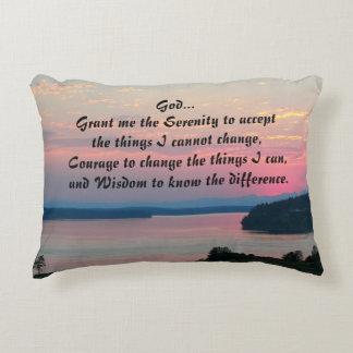 Serenity Prayer Pink Seascape Decorative Pillow