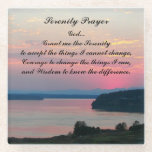 "Serenity Prayer Pink Seascape Glass Coaster<br><div class=""desc"">Protect your table top from water marks and stains with this decorative, glass beverage coaster that features the image of a dramatic, pink sunset over water along with the inspirational Serenity Prayer. Makes a thoughtful gift for family and friends! To see other products we have to offer, click on the...</div>"