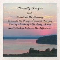 Serenity Prayer Pink Seascape Glass Coaster