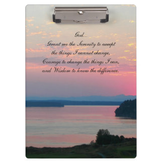 Serenity Prayer Pink Seascape Photo Clipboard