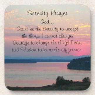 Serenity Prayer Pink Seascape Photo Coaster Set