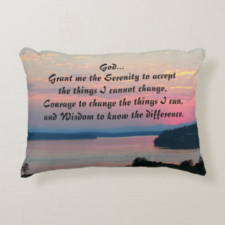 Serenity Prayer Pink Seascape Photo Decorative Pillow