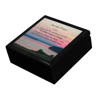 Serenity Prayer Pink Seascape Photo Jewelry Box
