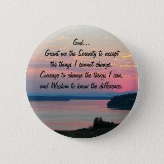 Serenity Prayer Pink Seascape Photo Pinback Button
