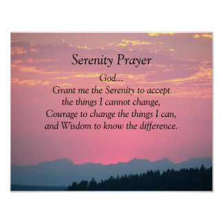 Serenity Prayer Pink Sunset Photo Poster