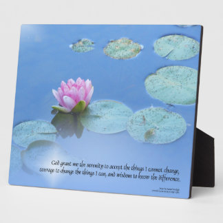 Serenity Prayer Pink Water Lily Plaque