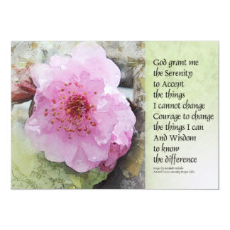 "Serenity Prayer Plum Blossom 5"" X 7"" Invitation Card"