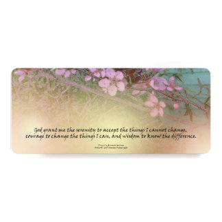 "Serenity Prayer Plum Blossoms Bookmark 4"" X 9.25"" Invitation Card"