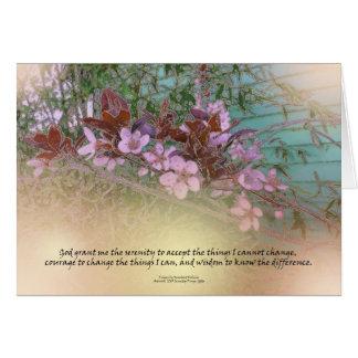 Serenity Prayer Plum Blossoms Green House Card