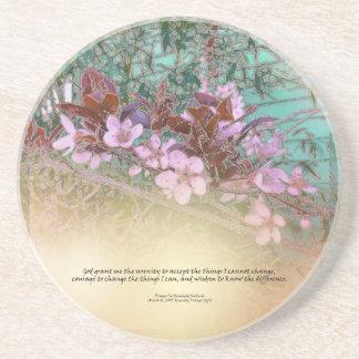 Serenity Prayer Plum Blossoms Green House Coaster