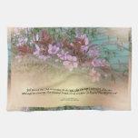 Serenity Prayer Plum Blossoms Green House Hand Towel