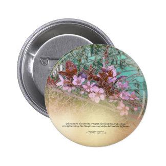 Serenity Prayer Plum Blossoms Green House Pinback Button