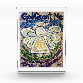 Serenity Prayer Poem Angel Art Paperweight Acrylic Award