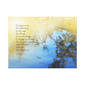 Serenity Prayer Pond Reflections Canvas Print