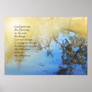 Serenity Prayer Pond Reflections Poster