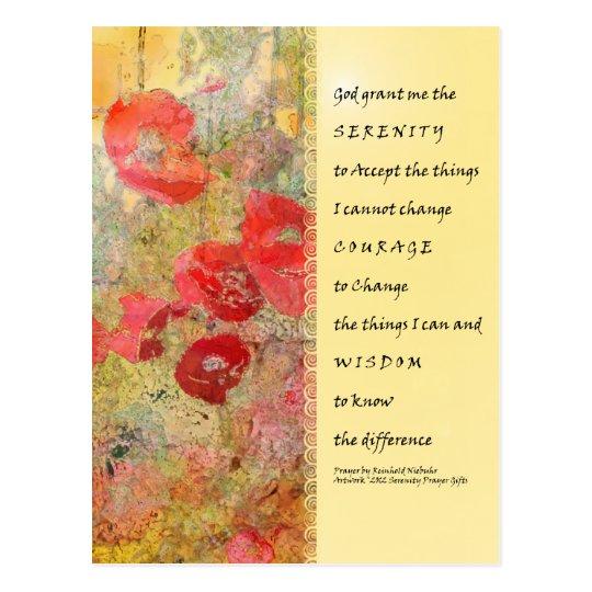 Serenity Prayer Poppies Abstract Postcard