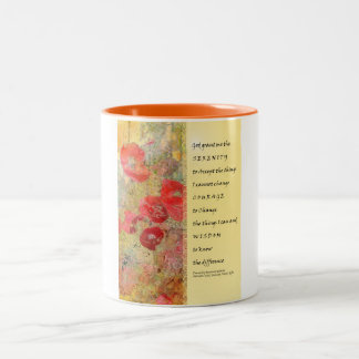 Serenity Prayer Poppies Abstract Two-Tone Coffee Mug