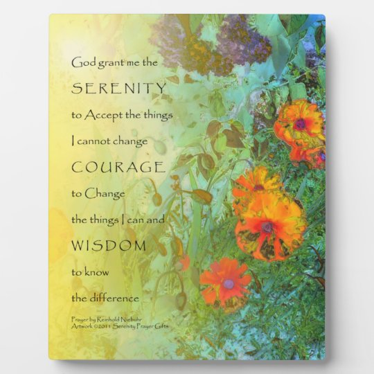 Serenity Prayer Poppies and Lilacs Plaque