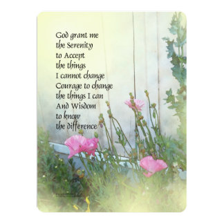 Serenity Prayer Poppies by the Shed 6.5x8.75 Paper Invitation Card