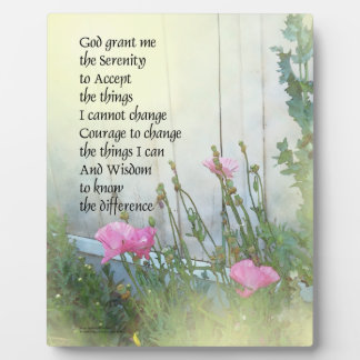 Serenity Prayer Poppies by the Shed Plaque