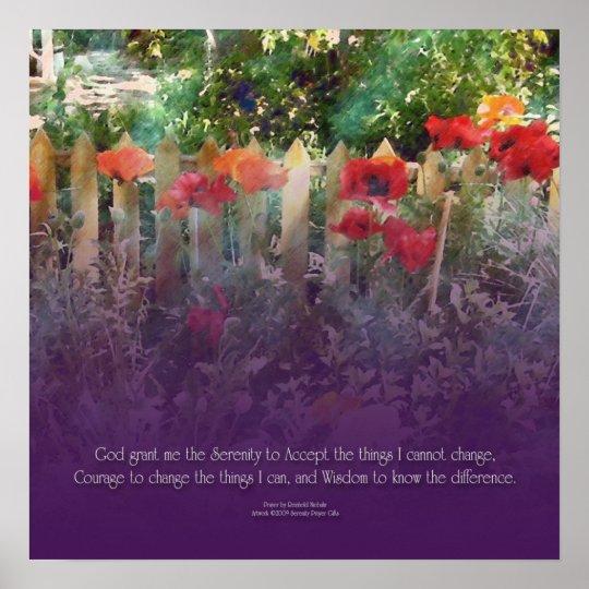 Serenity Prayer Poppies & Fence Poster